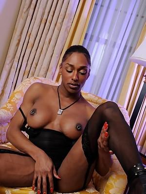 Irresistible ebony T-girl Natalia Coxxx stripping
