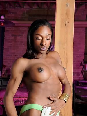 Super hot black tgirl Natalia Coxxx posing