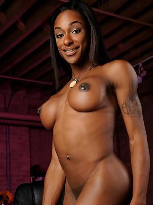 Amazing ebony TS goddess Natalia Coxxx posing